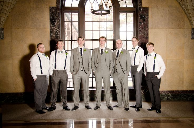 Groom and Groomsmen gray suits from Indochino. Gray dress pants, suspenders, and bow ties for ushers. #blatchleywedding