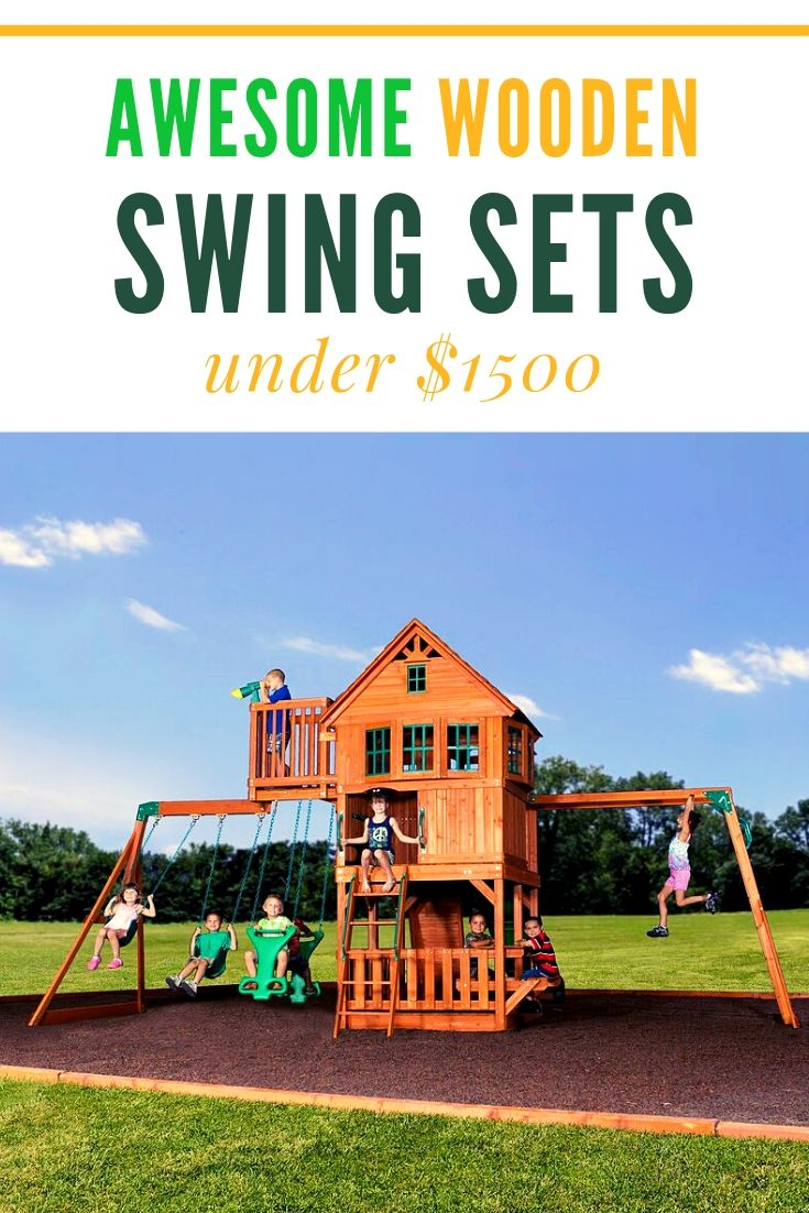 Awesome Swing Sets Under 1500 Dollars The Backyard Discovery Skyfort Ii Is The Most Popular In Thislist Wooden Playset Backyard Playset Backyard For Kids