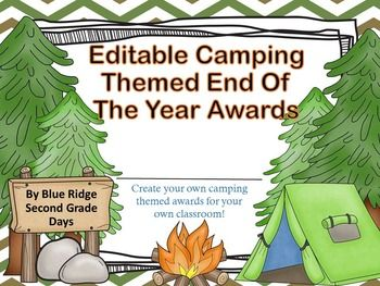 Do you have a camping themed classroom, work at a camp, run a summer camp, or work with groups like boy scouts and girl scouts? This editable powerpoint files gives you 25 different editable awards that you can edit to meet the needs of your celebration event.