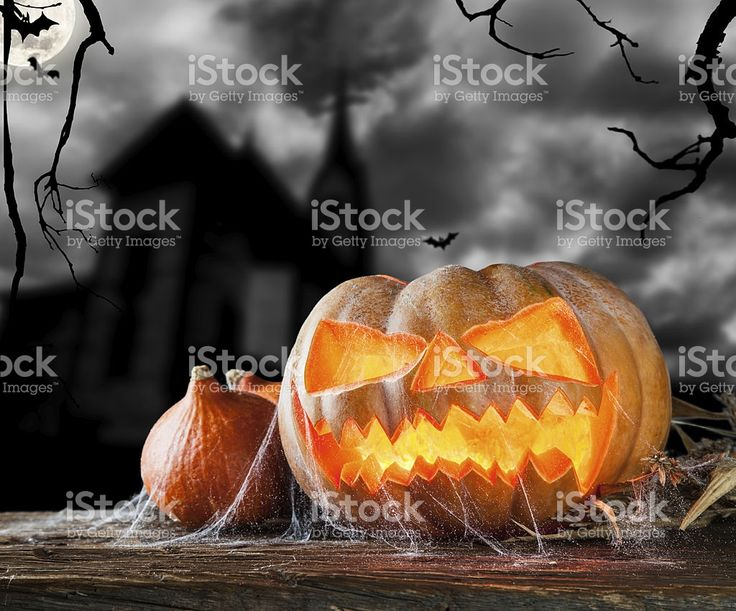 Halloween pumpkin on wood with dark background royalty-free stock photo