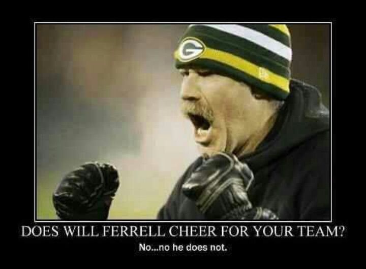 Will Ferrell Green Bay Packers football. He was at the game when we were there packers lions 2012! Packers Won!