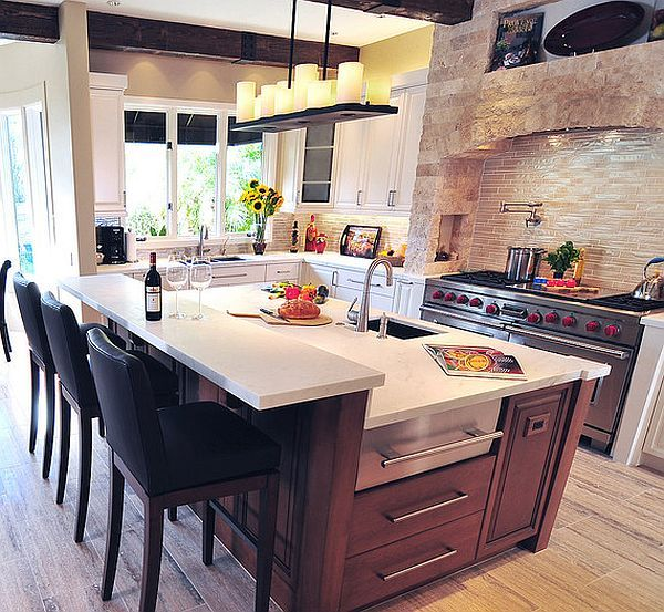 Mediterranean kitchen design with modern island. Has the brick I love and different textures/color woodwork.