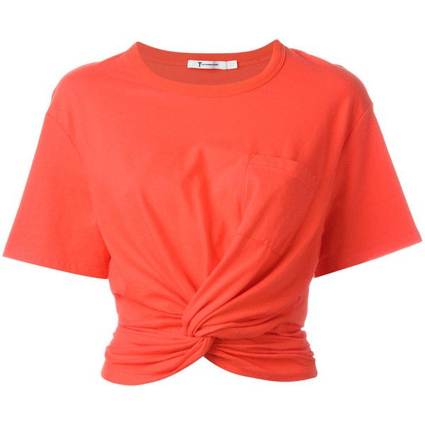 T By Alexander Wang Twist-Front T-Shirt ($150) ❤ liked on Polyvore featuring tops, t-shirts, shirts, none, crop t shirt, cotton t shirts, orange shirt, crew t shirts and knotted t shirt
