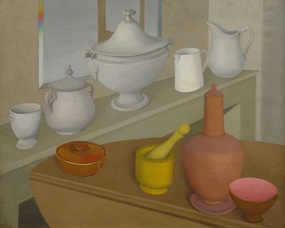 "Still Life with Kitchen Stuff by Meraud Guiness Guevara, 1938, Oil on canvas, 23 1/4"" x 28 3/4"" 