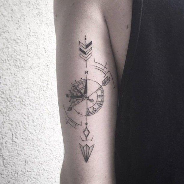 Inspiration de ma nouvelle lubie d'apres l'ete : Un tatouage d'une boussole à l'ancienne dans la nuq - themamsshow