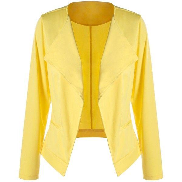 Plus Size Waterfall Blazer ($17) ❤ liked on Polyvore featuring outerwear, jackets, blazers, yellow jacket, yellow blazer, waterfall blazers, women's plus size blazers and blazer jacket