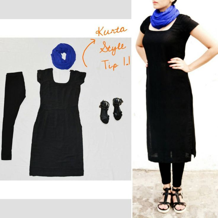 StyleTips: PartTwo  #kurtastyles #scarf #wrappedaround #contrast #blue #blackonblack #chunkysandals #elegantblack  Try this look wearing different colour scarves and do not forget to share with us.