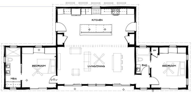 "Floorplan Confluence c.2+ Love the open kitchen/living space- great for entertaining and families. And all the access to the outside! Great ""tiny"" house for a family. Enlarge the second bedroom a bit so more beds can be fit in. Like that the bathroom would act as a sound buffer to that bedroom."