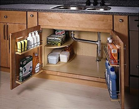 Under sink storage- racks on doors and mini shelf