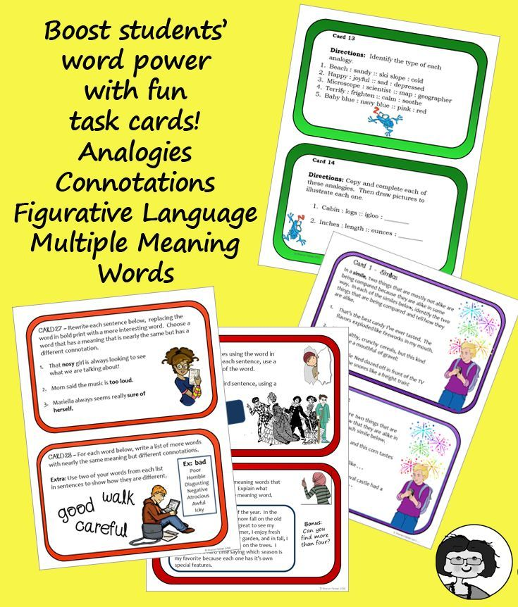 Word Power Task Card Bundle Analogies Connotations Figurative
