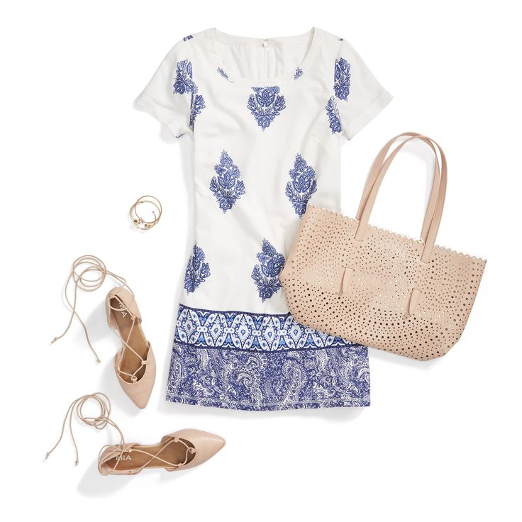 Summer outfit idea: Wear your favorite sundress with lace-up flats and nude accessories like an eyelet tote—it's feminine and summer-ready. Sign up for Stitch Fix to receive on-trend pieces like these from your very own personal stylist.