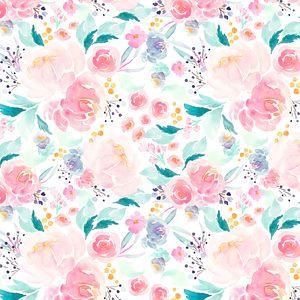 Indy Bloom - Watercolor Florals - Mermaid Floral in Lagoon