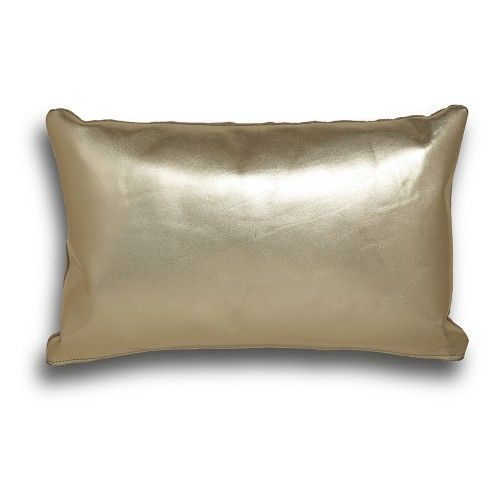 Shimmering gold throw pillow makes a statement, and the sumptuous soft leather adds true luxury. Handmade in South Africa.
