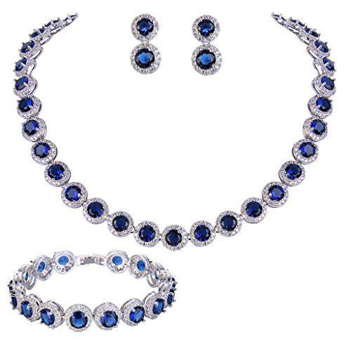 EVER FAITH® Silver-Tone Round Cut Cubic Zirconia Tennis Necklace Bracelet Earrings Set Sapphire Color N07415-2