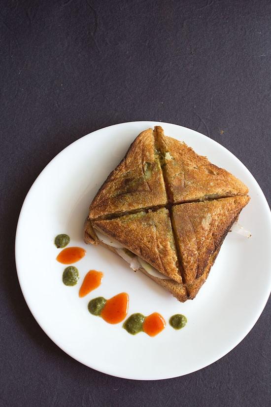 Indian street food - bombay veg toast sandwich