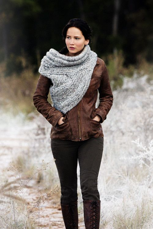 Katniss Everdeen- I want her scarf wrappy thingy. Oh my gosh I was just thinking that and I didn't know what to call it!