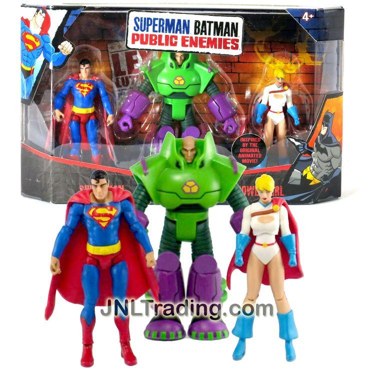 Mattel Year 2009 DC Comics Animated Movie Series Superman Batman Public Enemies 3 Pack 4 Inch Tall Figure Set - SUPERMAN, LEX LUTHOR and POWER GIRL
