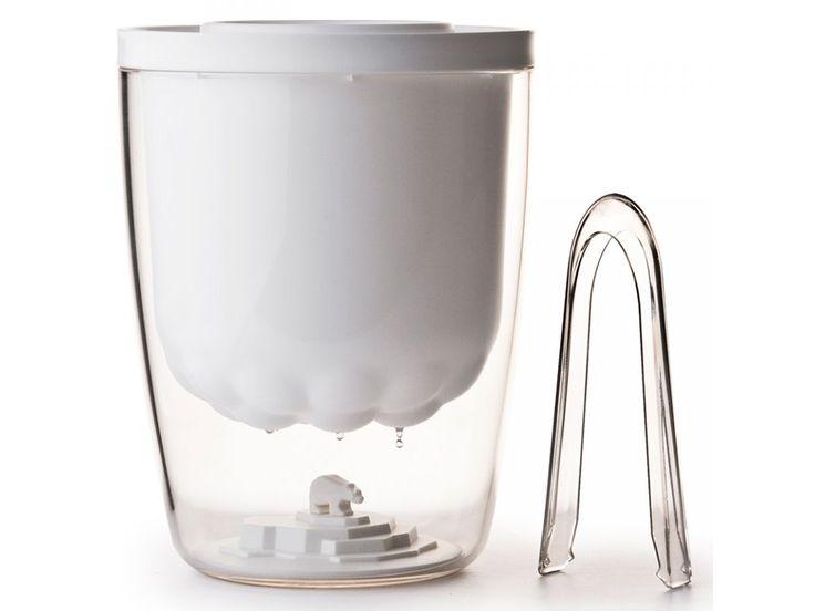 Nádoba na led QUALY Polar Ice Bucket | bílá. Originální plastová nádoba na led s bílým medvídkem.