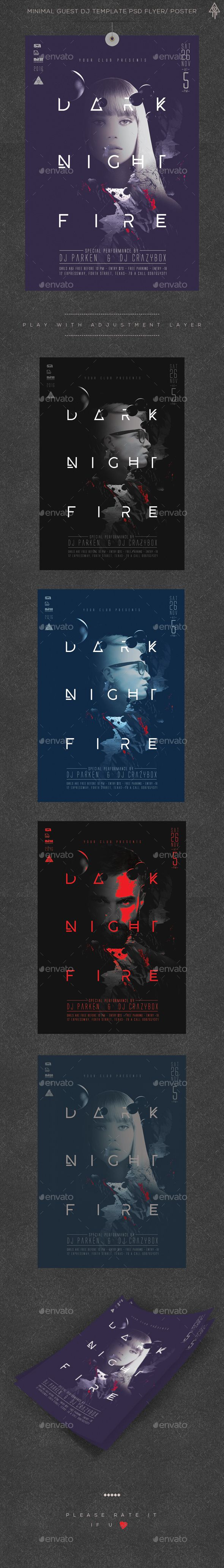 Minimal Dark Night Guest Dj Poster / Flyer Template PSD. Download here: http://graphicriver.net/item/minimal-dark-night-guest-dj-poster-flyer/14785357?ref=ksioks