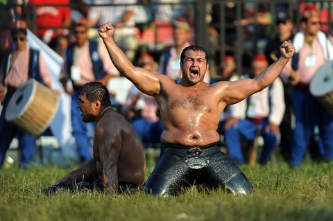 Victory at The Kirkpinar Oil Wrestling Festival, Edirne, Turkey