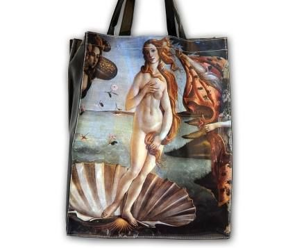 Plastic tote bag (PVC) shopper model, representing La Nascita di Venere by Botticelli (approximately 38x31 cm) – Uffizi Gallery – Florence. #firenzemuseistore #art #Botticelli #Lanascitadivenere #Uffizigallery #Florence #bag #shopper #accessories #fashion