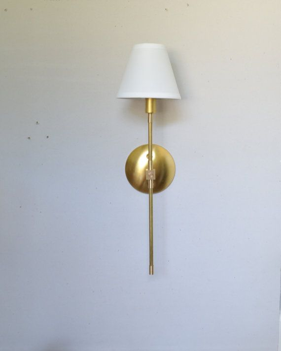 Gold Wall Lampshades : Modern Brass light - Minimal brass sconce with white linen shade UL Listed - Vivianne Plugs ...