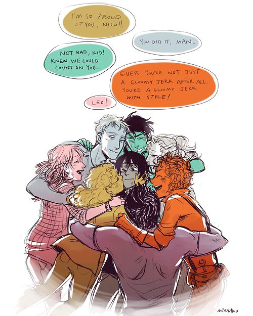 Awww the seven and Nico (Percy Jackson, Annabeth Chase, Jason Grace, Piper McLean, Leo Valdez, Frank Zhang, Hazel Levesque and Nico Di Angelo) LOOK AT NICOS FACE!