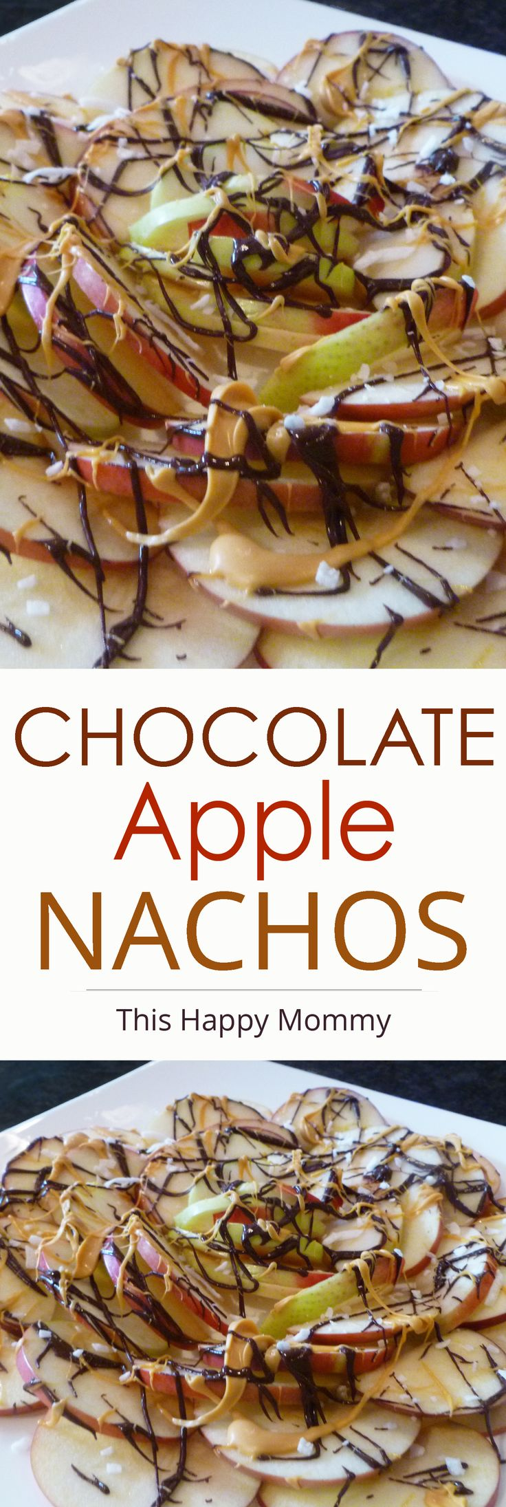 Chocolate Apple Nachos -- My kid love this! Apples covered with chocolate and butterscotch. Yum! | thishappymommy.com