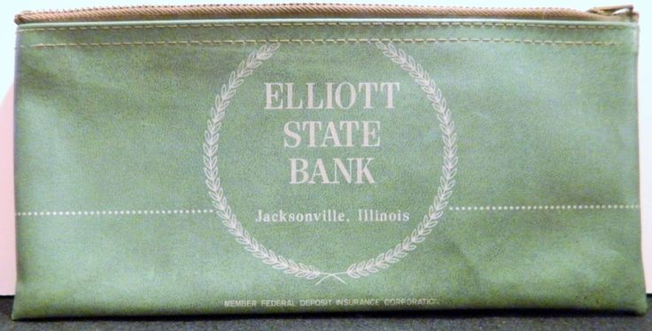 Vintage Bank Deposit Zip Top Bag Elliott State Bank Jacksonville, IL A Rifkin Co