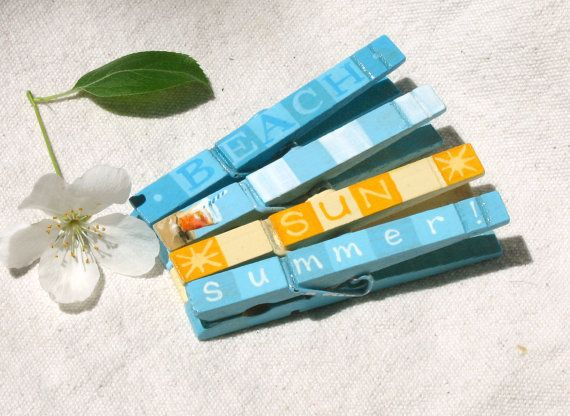 BEACH COCKTAIL CLOTHESPIN hand painted magnets by SugarAndPaint, $12.00