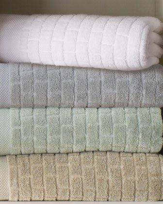 """""""Subway Tile"""" Towels by Waterworks Studio at Horchow. I have these in white and love, love them."""