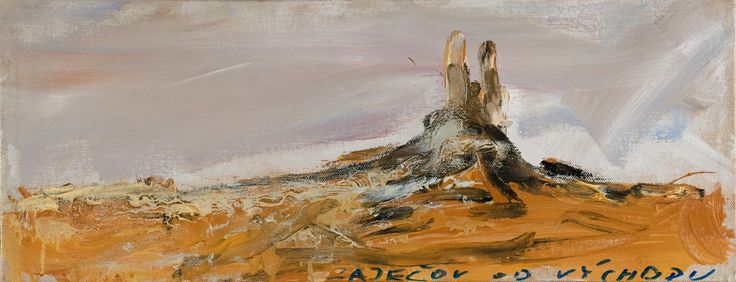 Tomáš Bambušek | Zaječov od východu, 65x24cm, olej na plátně, 2015. Házmburk, středohoří #madeinBUBEC
