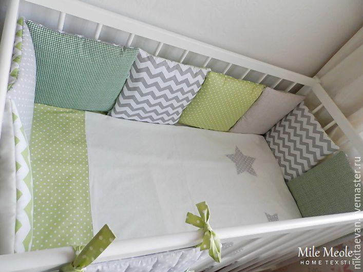 Купить Бортики в кроватку - бортики в кроватку, бортики, бортики в детскую кровать, бампер, подушка декоративная