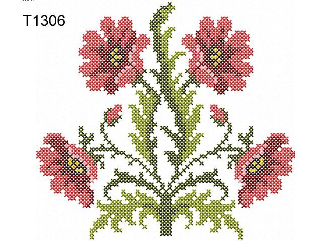 Quot poppies in the cross stitch technique machine