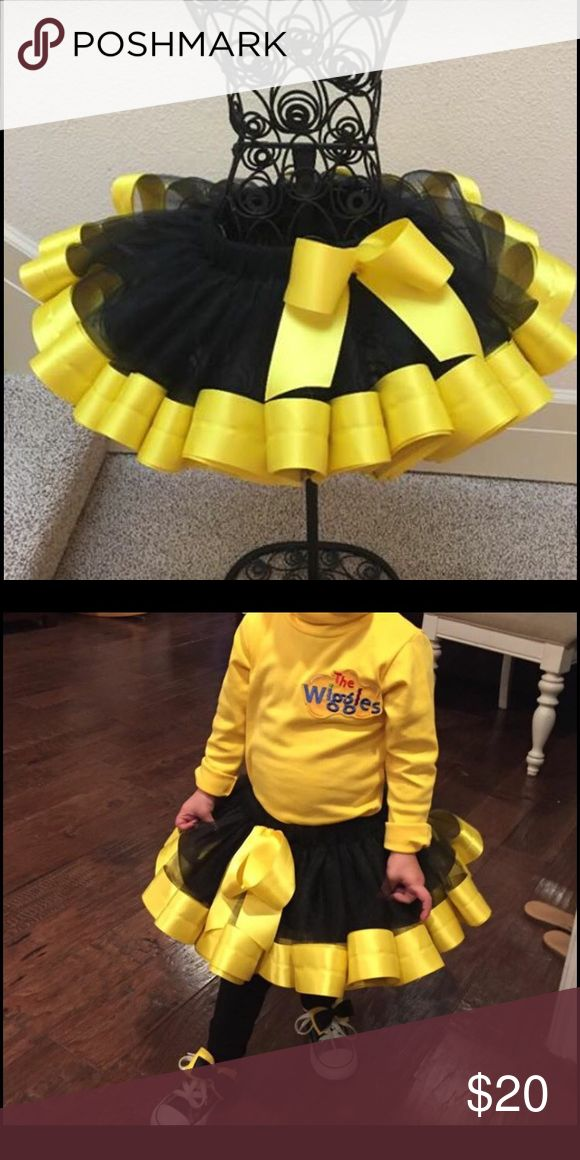 Toddler Black and yellow tutu Black Tutu With Sewn Yellow Ribbon for Trim  2T (waist 19 inches)   Wore 2 Times, Perfect Condition. Custom Made For Emma Wiggles Halloween costume. Bottoms Skirts