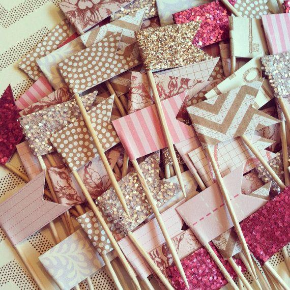 Adorable pink and gold mini cupcake picks SocialTables.com   Event Planning Software Laura Luker Doe