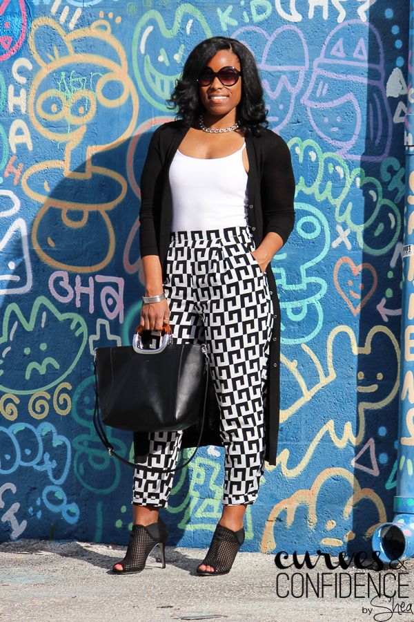 Long Cardigan   Printed Trousers