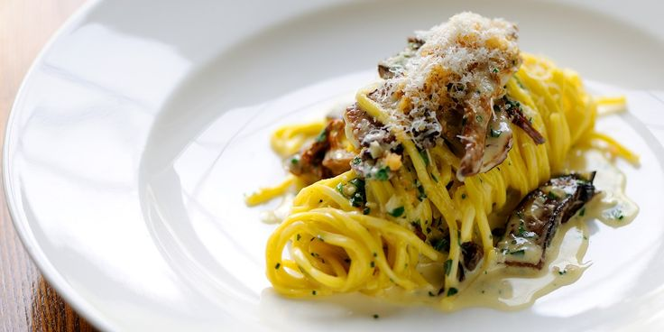 Dominic Chapman's linguine recipe showcases cep and trompette mushrooms in a simple pasta dish. It is a delicious linguine recipe full of savoury flavour.
