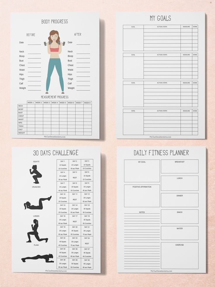 Fitness Planner Printable Workout Planner Printable Health | Etsy
