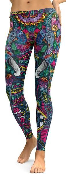 ON SALE! Colorful Elephant Leggings - GearBunch Leggings / Yoga Pants. Super soft leggings made of lightweight, breathable, and durable material that are great for lazy weekends, a day spent in the park, or just a casual gathering with your friends. The Elephant symbolizes patience and strength, which is why these leggings are carefully developed to bring these same characteristics to life, so that you can incorporate them into your yoga, meditation or energy practice.