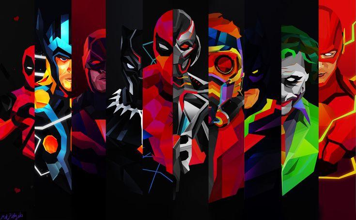 História Em Quadrinhos Superhero  Thor Coringa Black Panther (Marvel) Ultron Demolidor Deadpool Flash Star Lord Batman Homem-Aranha Papel de Parede
