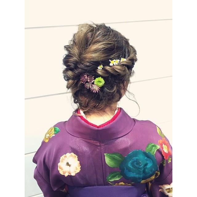 ヘアアレンジヘアスタイル  結婚式 浴衣 着物 成人式 振袖