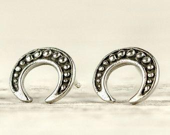 Kupfer und Silber Mond Ohrstecker zwei Ton gemischt von Mocahete