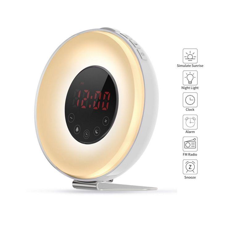 Aipker Wake Up Light, Sunrise Alarm Clock with FM Radio Snooze Function 7 Colors LED Bedside Lamp Night Light Nature Sounds for Heavy Sleeper Children Kids (2018 Version)