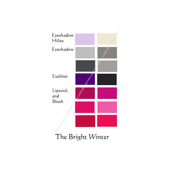 Best Makeup Colours Bright Winter 12 Blueprints found on Polyvore featuring polyvore and beauty products