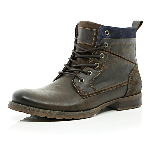 Dark brown lace up military boots