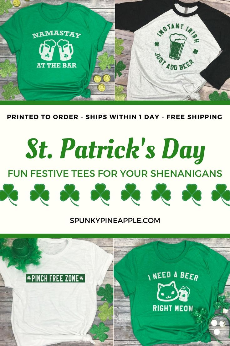 5026504c86 Fun festive tees for your St. Patrick's Day shenanigans! Namastay at the Bar  - Instant Irish Just Add Beer - Pinch Free Zone - I Need a Beer Right Meow