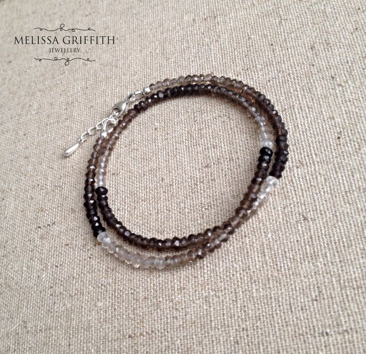 Ombre Smokey Quartz Double Wrap Bracelet (MGB84) $80.00 This delicate and feminine bracelet features sparkly ombre smokey quartz rondelles. The beads have been strung onto strong and flexible beading wire with a sterling silver lobster clasp closure. Includes a 1 inch extender for the perfect fit.