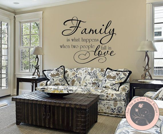 I love this quote and the placement...exactly where I would put it! Wall Decals Quote  Family is What Happens by FourPeasinaPodVinyl, $10.00