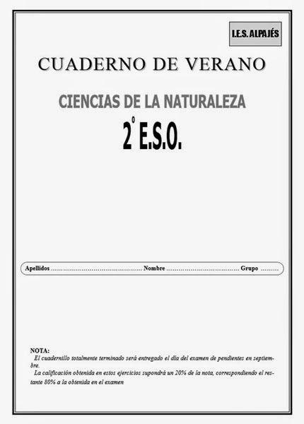 Cuaderno de Verano de Ciencias de la Naturaleza de 2º de ESO del I.E.S. Alpajés de Aranjuez (Madrid).